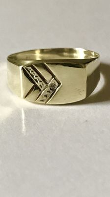 14 kt Gold men's ring with diamond - Ring size 20 (63)
