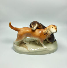 Large - Royal Dux - Bohemia -Hunting Dogs- Figurine Pointer/Setters