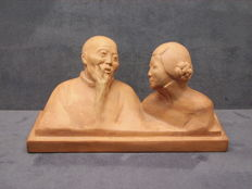 Gaston Hauchecorne (1880-1945) - Chinese man and woman - Terracotta Sculpture
