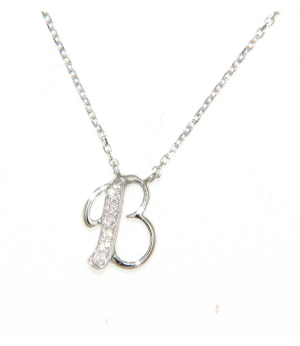 18 kt white gold initial necklace with diamond set letter b 002 ct