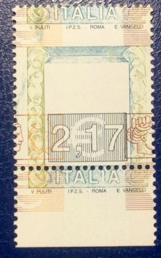 Italy 2001 - High values €2.17, perforated with colours greatly shifted - Sassone no. 2217Ea