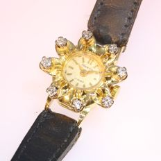 Fifties gold diamond wristwatch