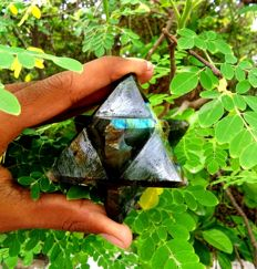 Large Green/Blue Labradorite Merkaba Star Tetrahedron - 7 cm - 600 gm