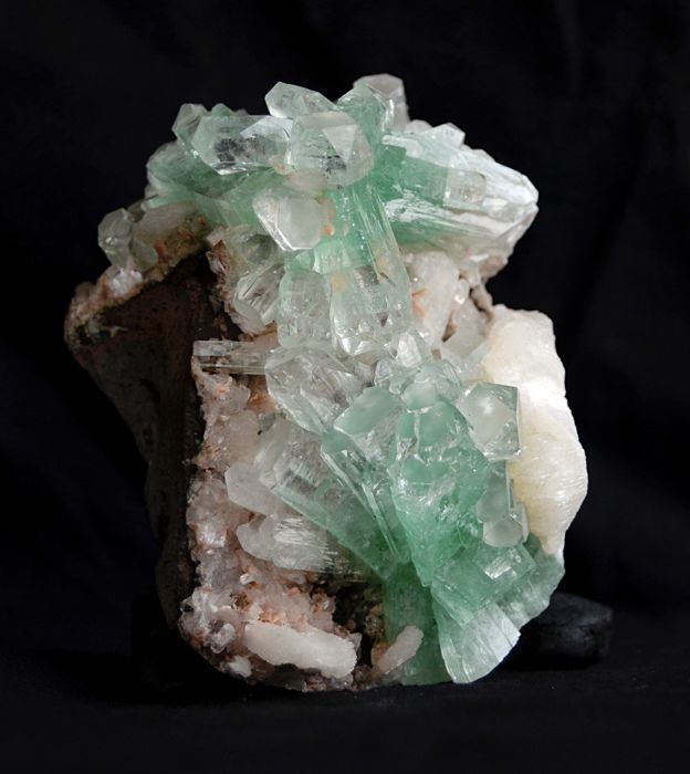 Beautiful Gemmy Green Apophyllite Crystals With Stilbite Specimen  - 11  X  7 cm - 480 gm