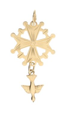 14 kt yellow gold pendant in the shape of a Huguenot cross – Length x width: