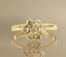 14 kt yellow gold rosette ring with Bolshevik cut diamonds, approx. 1.00 carat, ring size 18.25 (57)