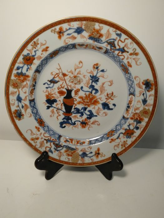 Imari porcelain plate decorated with plants patterns - China - Circa 1730. & Imari porcelain plate decorated with plants patterns - China - Circa ...