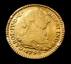 Spain - Carlos IV - Doubloon of 2 Escudos 1790 Popayán SF - bust of Carlos III - gold
