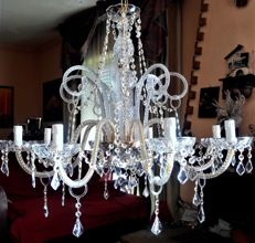 Maria Theresa style 8-light crystal glass chandelier - Italy, 1980s