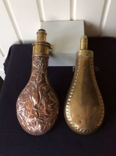Two brass and copper powder flasks with a stamp Sykes - 19th century