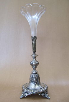 Silver plated AB-NS Trumpet vase with crystal/glass - Europa - 1895