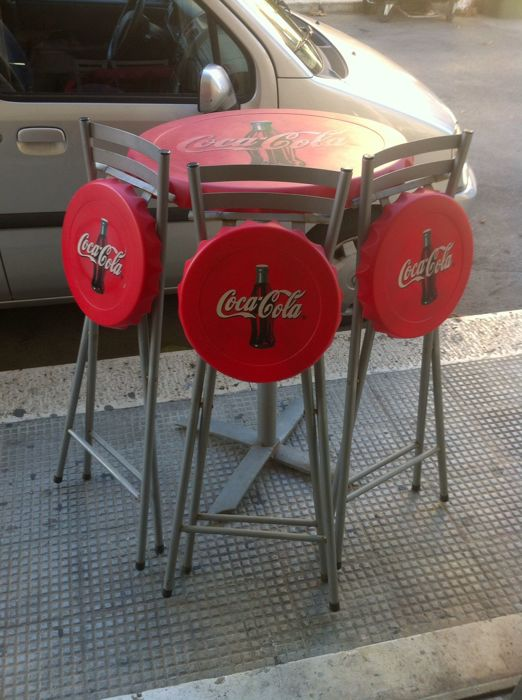Vintage Coca Cola bar table with 3 stools, 1970s