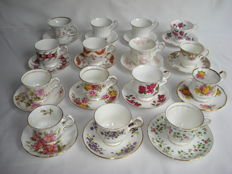 14 cups and saucers, English and German Fine bone China Coffee / Tea set