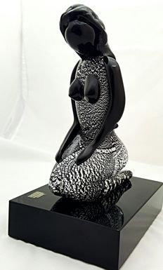 Paolo Rubelli - mermaid on black base and silver leaf