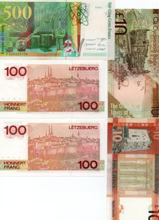 World - 11 Banknotes - Luxembourg, France, Switzerland, etc.