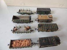 Minitrix N - 8x various freight wagons of the K.Bay.Sts.B, weathered