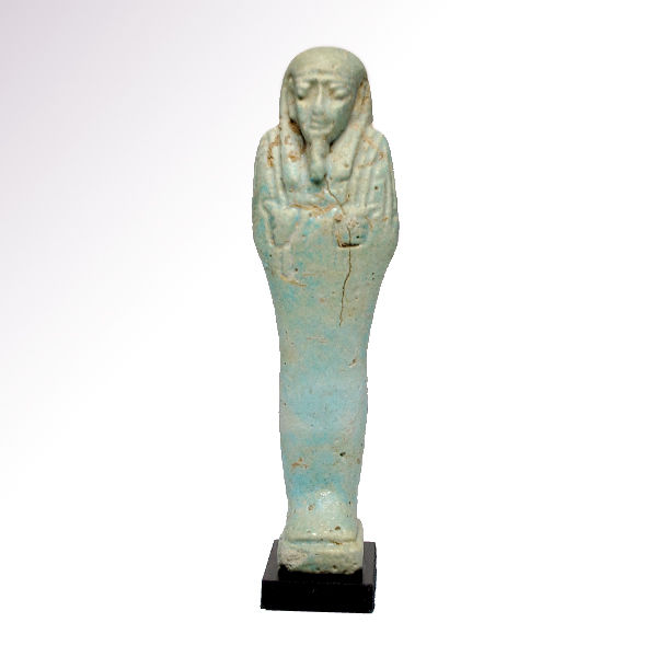Egyptian Light Turquoise Glazed Faience Shabti, 12.1 cm H