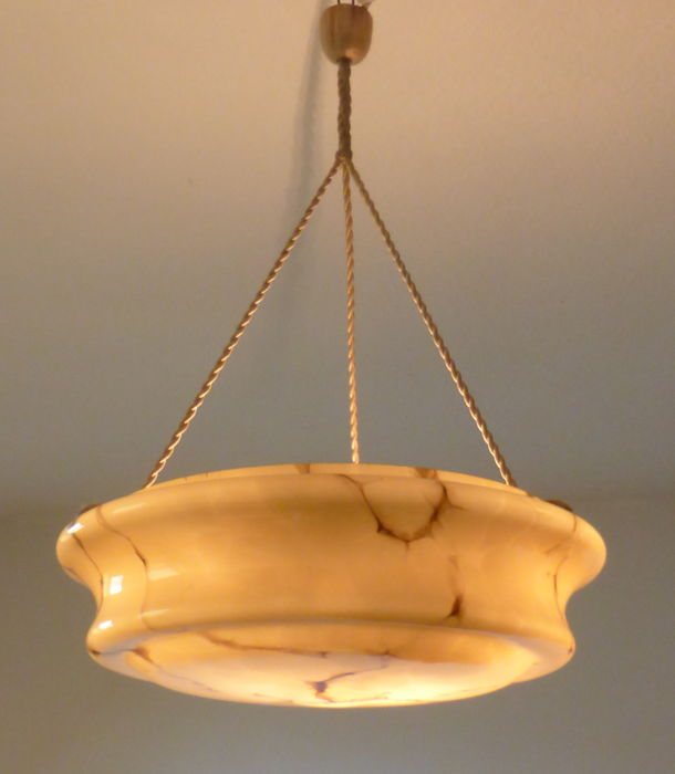 Art Deco pendant light with marbled opaline glass - original hanging fittings, circa 1920, France
