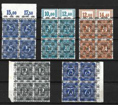 Germany 1948 12,25,20,24,75 pf Blocks of 4 Michel No. 52 II