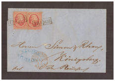 Holland 1864 - 10 cent, carmine pink, two stamps on letter from Leeuwarden to Konigsberg - Unificato No. 5
