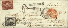 France 1850 – black 20c and red-brown 1 franc on a taxed letter to Italy. Rare, signed Roumet with certificate – Yvert 3 and 6A