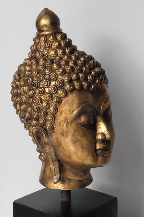 Bronze Buddha head, gold-plated with gold foil, Thailand, 2nd half 20th century