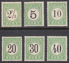 Curaçao 1889 – Postage due stamp, Number in black – NVPH P1/P3, P6 and P8/P9 of type I