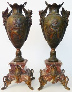 A Pair of Rare Bronze Vases by J. Garnier