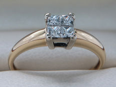 Certified gold diamond ring with 0.23 ct int toal, VS1-VS2 with F to G colour - **No Reserve**