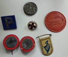 WHW convolute ,Youth Hostel badges and red cross badge