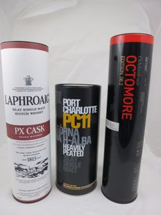 3 bottles - Port Charlotte PC11, Octomore 6.2, Laphroaig PX cask