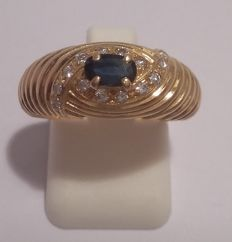 Ring in 18 kt yellow gold and sapphire - size: 55