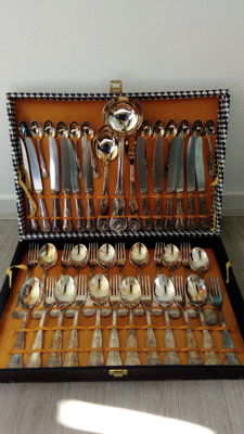 silver plated flatware for 12 people in box. 51 piece King motif