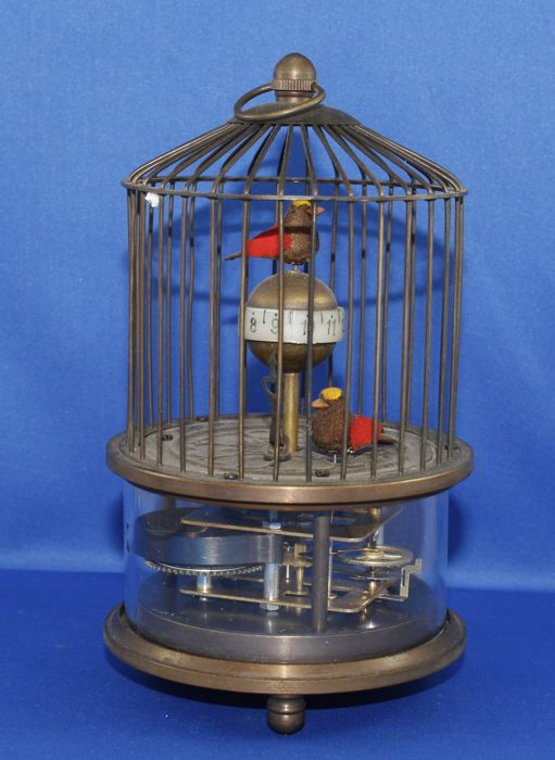 Birdcage clock with moving birds - late 20th century