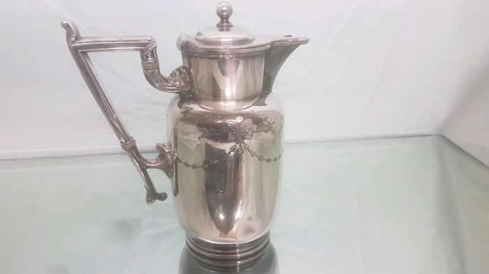 Finely decorated, silver plated Teapot with wicker handle and finial, marked by Barker Brothers