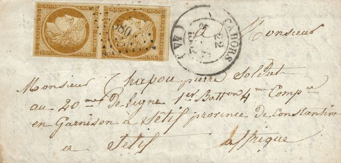 France 1852 – Cérès 10 cents bistre in pair, cancelled small numbers for French Algerian colony – Military rate – Yvert No. 1