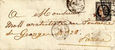 France 1849 – Cérès 20c black cancelled grid and red quill on letter, extremely rare cancellation – Yvert No. 3