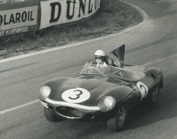 2 x  B & W  Photographs 1956 Le Mans 24 Hour Jaguar D Type