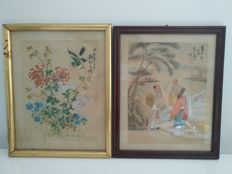 2 framed paintings - China - Beginning of 20th century (Republic Period).