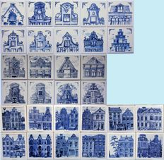 "30 KLM Delft blue tiles - first series, including complete series ""street faces"""