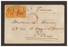 Holland 1864 - 15 cent, orange, pair on letter from Sgravenhage to Paris - Unificato no. 6