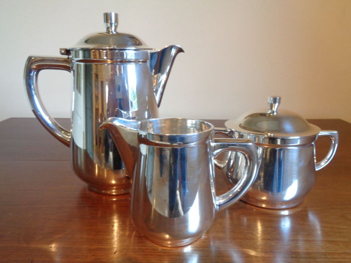 Silver plated 3 piece coffee set, WMF, Germany, around 1970