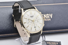 Henry London chronograph wristwatch with calfskin leather strap