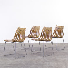 "Hans Brattrud for Hove Möbler – vintage, mid-century, modern, plywood chairs, model ""Scandia"""
