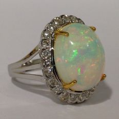 18ct white gold cabochon cut Opal and Diamond cluster ring