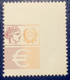 Republic of Italy, 2002 – High values – Varieties with only the yellow and red print