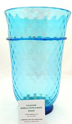 Paolo Rubelli - medium aquamarine vase with gold thread