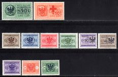 German occupation of Ljubljana – 1944 – eilmarken and postage due stamps, Michel 26, 28 and postage due 1-9