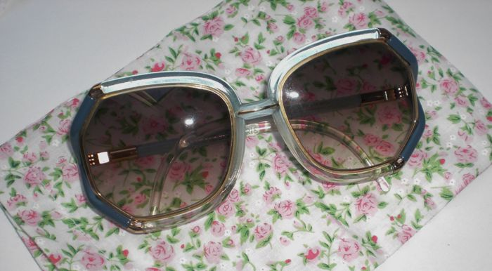 Exquisite Vintage Sunglasses – Ted Lapidus – Paris – Grey Blue Gold – oversized Women Shades