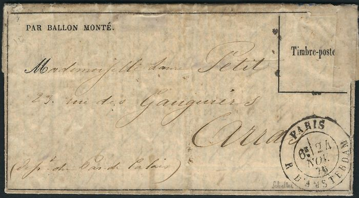 "France 1870 - ""Le Jacquard"" balloon mail, ""gazette des absents"" No. 10 stamp, immersed in water"